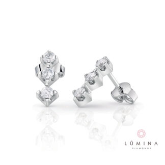 Orecchini Trilogy in oro e 6 diamanti con cestino quadrato