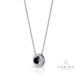 Collana in oro con diamante nero taglio brillante e contorno di diamanti